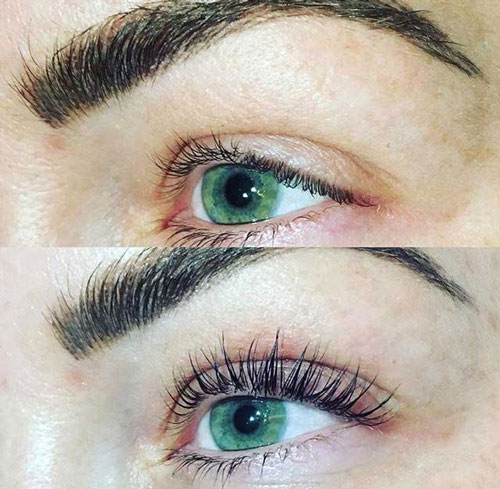 Before and after eyelash tint and lift